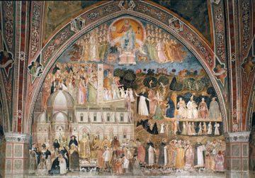 The Way of Salvation fresco is in the Spanish Chapel (Cappella Spagnuolo, or Guidalotti Chapel, after the patron) of Santa Maria Novella, Florence. Created by Andrea di Bonaiuto (Andrea da Firenze)